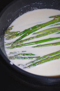 Cooking Asparagus in Lemon Vodka Cream Sauce