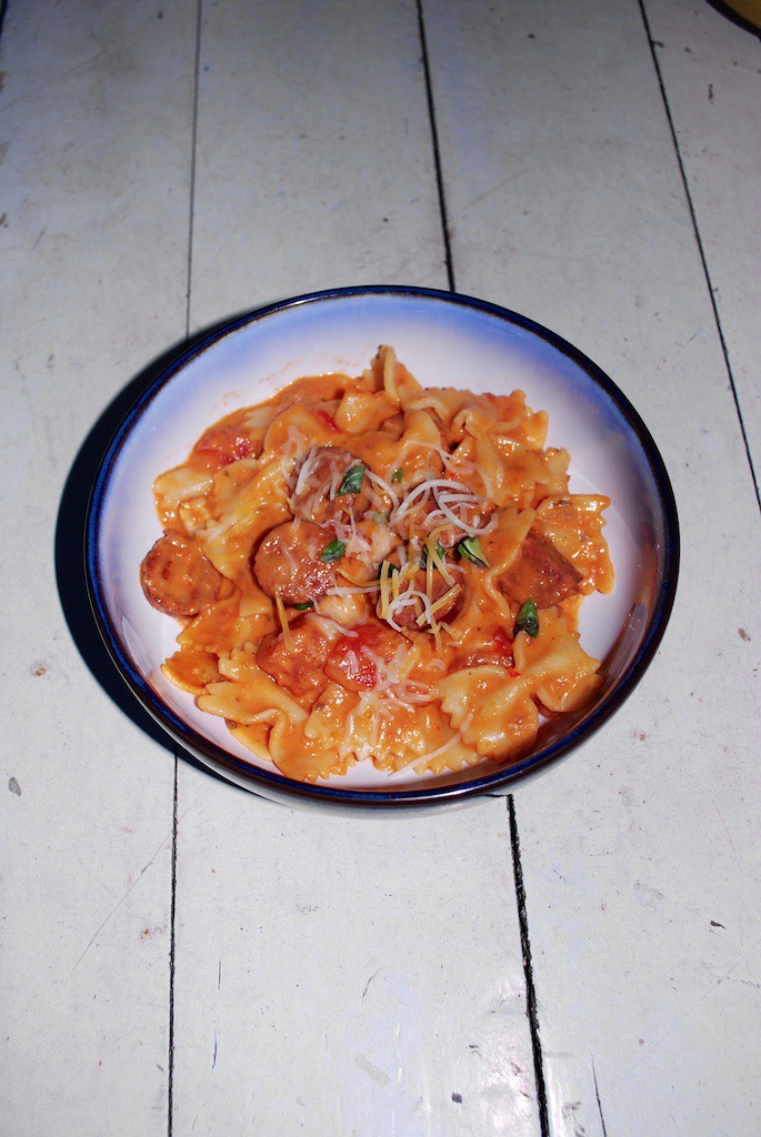 An easy meal with vodka sauce - sausage and pasta!