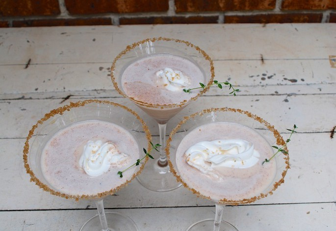 Pumpkin Pie Martinis with Whipped Cream and Sugar Rimmed Glasses