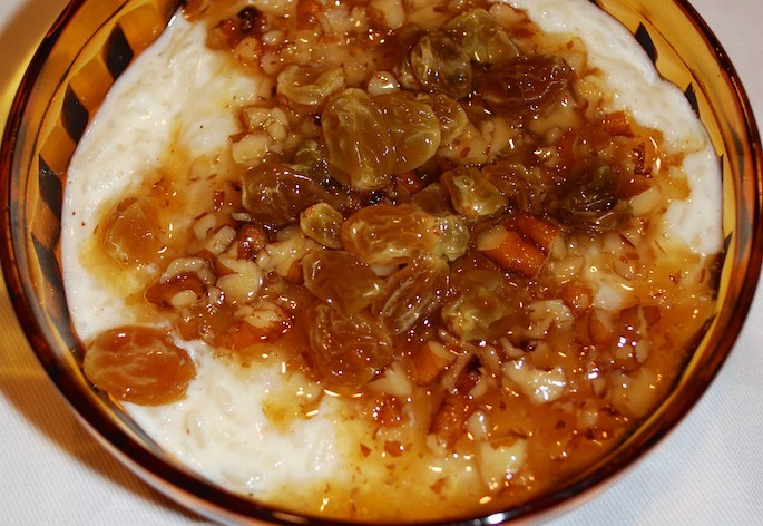 Vodka soaked raisins make the perfect topping on rice pudding!