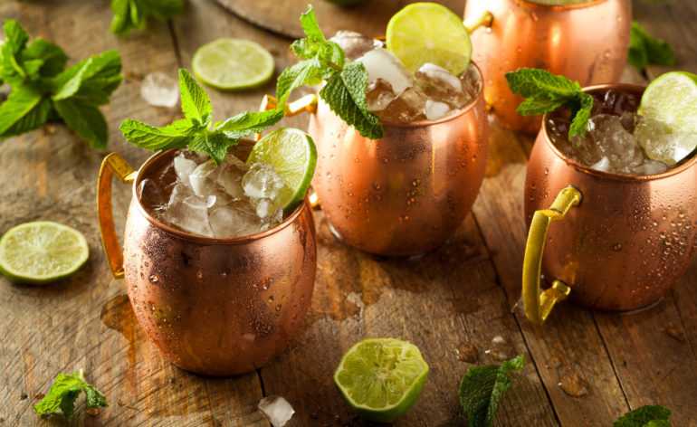 Moscow Mule Cocktails served in copper mugs
